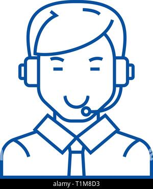 Man with headset line icon concept. Man with headset flat  vector symbol, sign, outline illustration. - Stock Photo