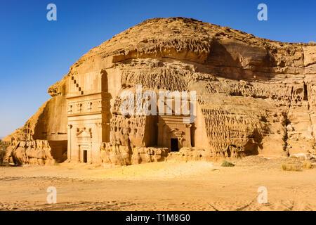 Rock-cut Nabatean tombs of Mada'in Sale, a UNESCO world heritage site in Saudi Arabia. - Stock Photo