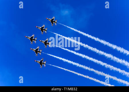 The U. S. Air Force Air Demonstration Squadron (Thunderbirds) perform the 'Delta' maneuver during the 'Warriors over the Wasatch' Air and Space Show. - Stock Photo