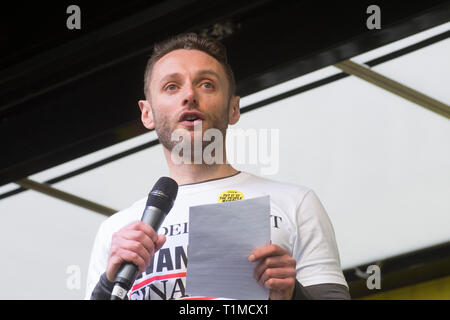 London, UK - 23 March 2019 - Christian Broughton (editor of the Independant) speaking at the 'Put it to the People' march and rally attended by around - Stock Photo