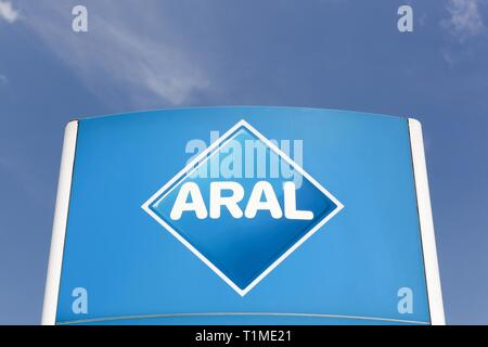 Neuenkirchen, Germany - July 22, 2018:Aral sign on a panel. Aral is a brand of automobile fuels and petrol stations, present in Germany and Luxembourg - Stock Photo