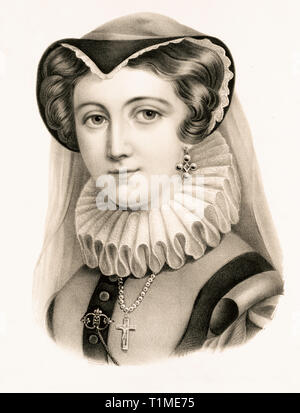 Mary Queen of Scots (1542-1587), monochrome lithograph, portrait, c. 1870,  Currier & Ives - Stock Photo