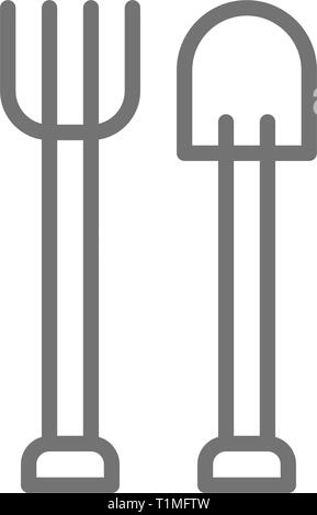 Pitchfork with shovel, gardening tools, agriculture line icon. - Stock Photo