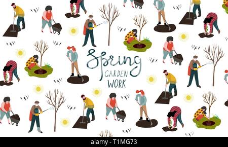 People working in the garden over planting, developing the land and treating trees from pests. Vector illustration - Stock Photo