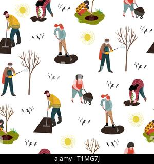 Seamless pattern with people working in the garden over planting, developing the land and treating trees from pests. Vector - Stock Photo
