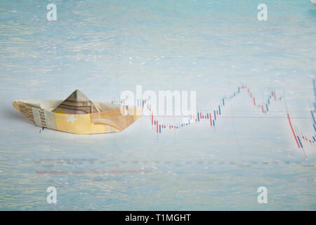 navigating with euros through the stock markets - Stock Photo