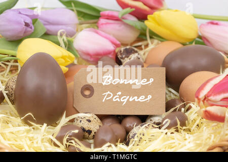 Happy easter (Bonnes Pâques is Happy Easter writing in french) on a label, easter celebration with chocolate eggs and pastel tulips - Stock Photo