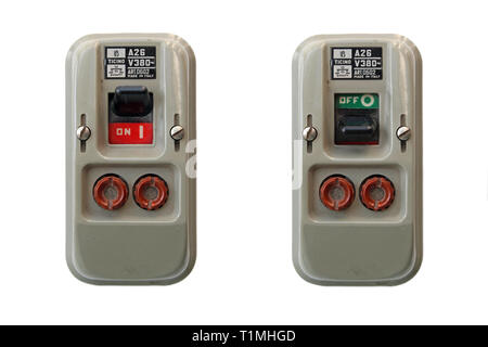 Two vintage safety switches with fuses, isolated on white background - Stock Photo