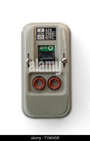 Vintage safety off switch with fuses, isolated on white background, close-up - Stock Photo