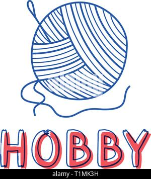 Hand draw knitting icon in doodle style for your design with lettering. - Stock Photo