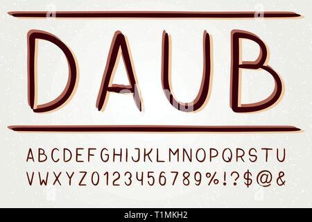 Typeface sans serif font. Vector hand drawn artistic alphabet. Retro Typography. Vector Illustration. - Stock Photo