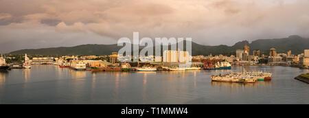 Port Louis, Mauritius - January 30, 2019: Panoramic view of the Port of Port Louis in Mauritius. - Stock Photo