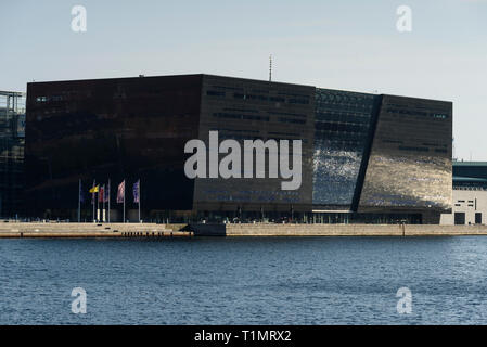 Copenhagen. Denmark. Black Diamond waterfront extension to the Royal Danish Library, Søren Kierkegaards Plads 1.   Waterfront extension to the Royal D - Stock Photo