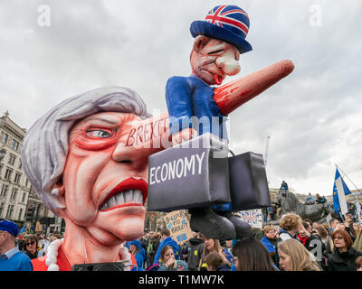 The Theresa May Nose Float by Jacques Tilly on the People's Vote March, 23 March 2019, London, UK - Stock Photo