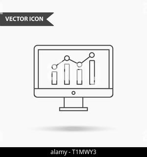 Modern and simple vector illustration of a monitor with chart icon. Flat image with thin lines for application, interface, presentation, infographics  - Stock Photo