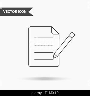 Modern and simple vector illustration of pens and document icon. Flat image sheet of records with thin lines for application, interface, presentation, - Stock Photo