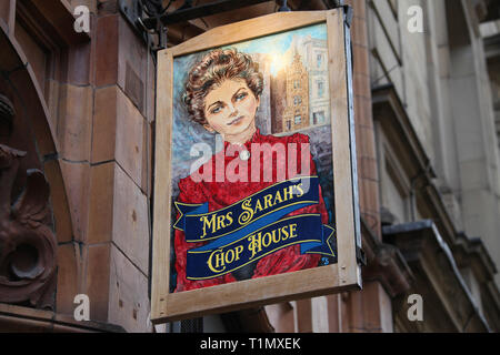 Mrs Sarah's Chop House Sign in Manchester - Stock Photo