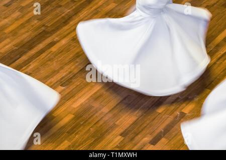 Whirling Dervishes or Semazen in Konya, Turkey - Stock Photo