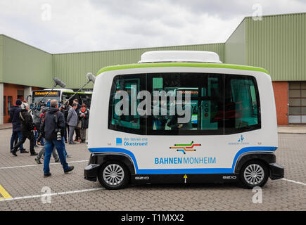 Monheim, North Rhine-Westphalia, Germany - Presentation of the autonomous electric bus in regular service, model EZ10 of the company Easymile, at the  - Stock Photo