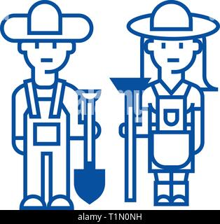 Farmers,woman and man with tools line icon concept. Farmers,woman and man with tools flat  vector symbol, sign, outline illustration. - Stock Photo