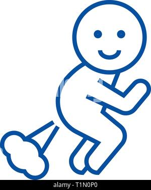 Farting man line icon concept. Farting man flat  vector symbol, sign, outline illustration. - Stock Photo