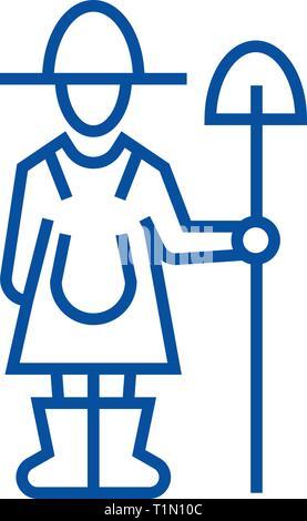 Female farmer with shovel line icon concept. Female farmer with shovel flat  vector symbol, sign, outline illustration. - Stock Photo
