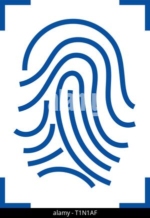Fingerprint scan line icon concept. Fingerprint scan flat  vector symbol, sign, outline illustration. - Stock Photo