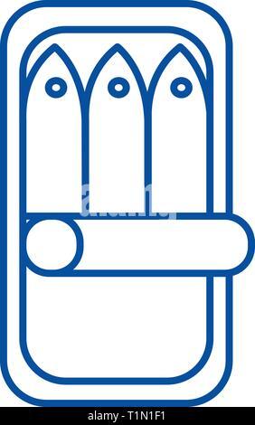 Fish preserves line icon concept. Fish preserves flat  vector symbol, sign, outline illustration. - Stock Photo