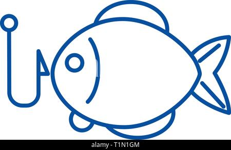 Fishing illustration line icon concept. Fishing illustration flat  vector symbol, sign, outline illustration. - Stock Photo