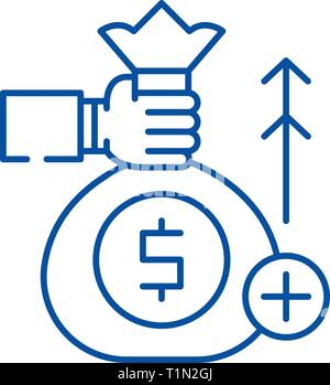Fundraising line icon concept. Fundraising flat  vector symbol, sign, outline illustration. - Stock Photo
