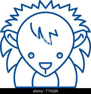 Funny hedgehog line icon concept. Funny hedgehog flat  vector symbol, sign, outline illustration. - Stock Photo