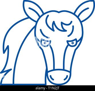 Funny horse line icon concept. Funny horse flat  vector symbol, sign, outline illustration. - Stock Photo