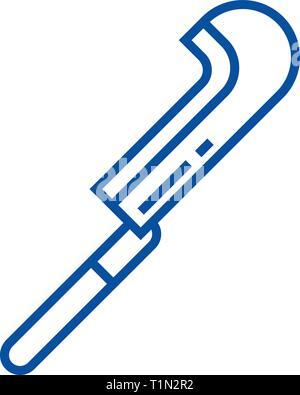 Garden billhook line icon concept. Garden billhook flat  vector symbol, sign, outline illustration. - Stock Photo