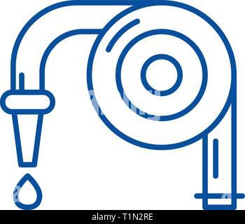 Garden hose line icon concept. Garden hose flat  vector symbol, sign, outline illustration. - Stock Photo