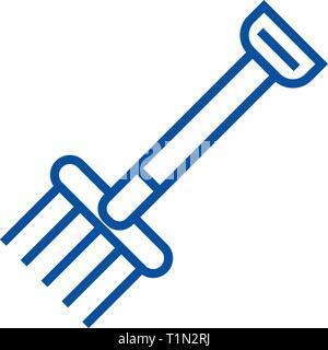 Garden rake line icon concept. Garden rake flat  vector symbol, sign, outline illustration. - Stock Photo