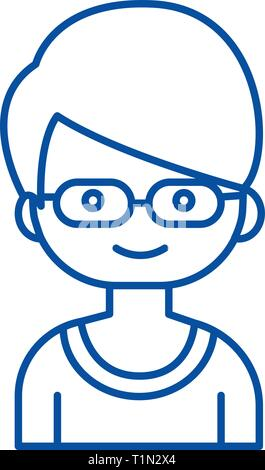 Geek boy with glasses line icon concept. Geek boy with glasses flat  vector symbol, sign, outline illustration. - Stock Photo