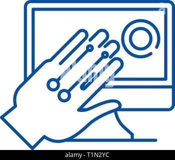 Gesture recognition system line icon concept. Gesture recognition system flat  vector symbol, sign, outline illustration. - Stock Photo