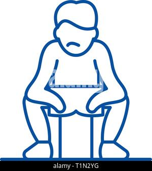 Get tired line icon concept. Get tired flat  vector symbol, sign, outline illustration. - Stock Photo