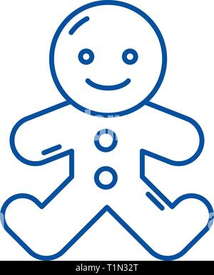 Gingerbread man line icon concept. Gingerbread man flat  vector symbol, sign, outline illustration. - Stock Photo
