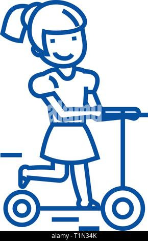 Girl on a scooter line icon concept. Girl on a scooter flat  vector symbol, sign, outline illustration. - Stock Photo