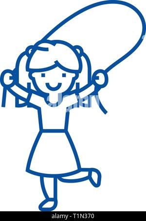 Girl with jumping rope line icon concept. Girl with jumping rope flat  vector symbol, sign, outline illustration. - Stock Photo