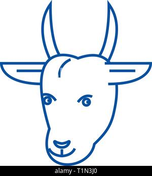 Goat head line icon concept. Goat head flat  vector symbol, sign, outline illustration. - Stock Photo