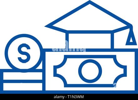 Graduation cap, diploma and mone line icon concept. Graduation cap, diploma and mone flat  vector symbol, sign, outline illustration. - Stock Photo