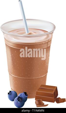 Blueberry chocolate milkshake,vector - Stock Photo