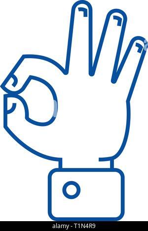 Hand ok line icon concept. Hand ok flat  vector symbol, sign, outline illustration. - Stock Photo