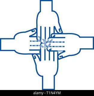 Hands together line icon concept. Hands together flat  vector symbol, sign, outline illustration. - Stock Photo