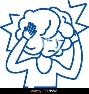 Headache line icon concept. Headache flat  vector symbol, sign, outline illustration. - Stock Photo
