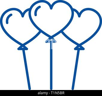 Heart shaped balloons line icon concept. Heart shaped balloons flat  vector symbol, sign, outline illustration. - Stock Photo
