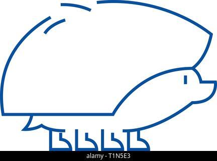 Hedgehog line icon concept. Hedgehog flat  vector symbol, sign, outline illustration. - Stock Photo
