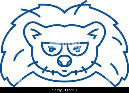 Hedgehog head line icon concept. Hedgehog head flat  vector symbol, sign, outline illustration. - Stock Photo